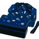 New Japanese style Lunch box Bento case 2stage Belt Lunchbag Blue Free shipping