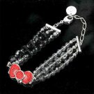 Hello Kitty Ribbon Swarovski Crystal Bracelet Silver x Red from Japan F/S NEW