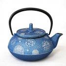 Blue Nanbu Iron Teapot & plate set of Japan 0.65L Kyusu,Kettle Kyoto NEW F/S
