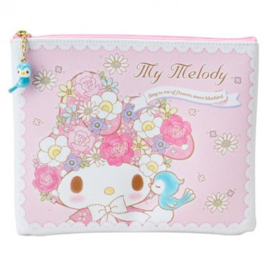 """My Melody flat Pouch """"KOTORI""""Flowers and Birds Small Bird Pink SANRIO Japan NEW"""