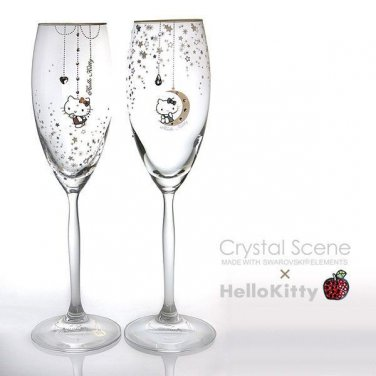 Hello Kitty x Swarovski Crystal Pair Champagne Glass Made in JAPAN NEW Sanrio FS
