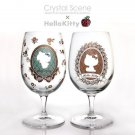 Hello Kitty x Swarovski Crystal Pair wine glass flower frame JAPAN NEW Sanrio FS