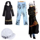 One Piece Trafalgar Law Cosplay Costume Set+Tattoo New World ver. from Japan F/S