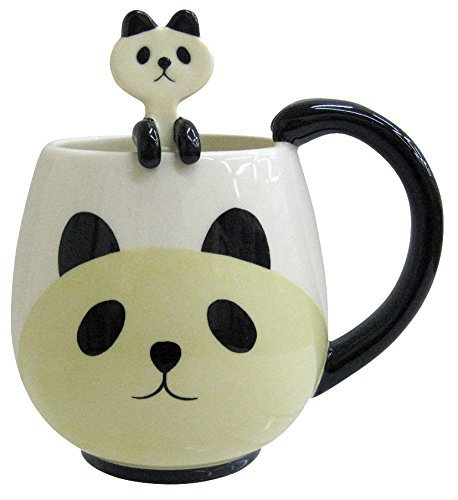 "DECOLE Concombre ""PANDA"" mug and spoon set perfectly round 10cm DE21710 DECOLE2"