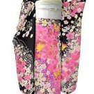 Japanese Pure Silk Furisode-Kimono Set Floral Yuzen Black Maiko Lobe Small NEWFS