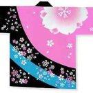 Japanese Festival Coat HAPPI CherryBlossomYukata Kimono Geisha Roomwear AdultNew