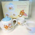 Rilakkuma tea pot & 2 cup Set light blue Japan limited! Coffee Pottery KyuusuF/S