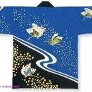 Japanese Festival Coat HAPPI Blue Butterfly M Yukata Kimono Geisha Roomwear NEW