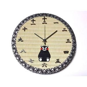 Wall Clock of Tatami Kumamon Bear Embroidered 2010 Kumamoto Kyorto Japan NEWF/S