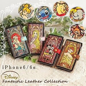 Disney iPhone 6 Book Case Cover 100% Genuine Leather Cowhide Selectable NEW