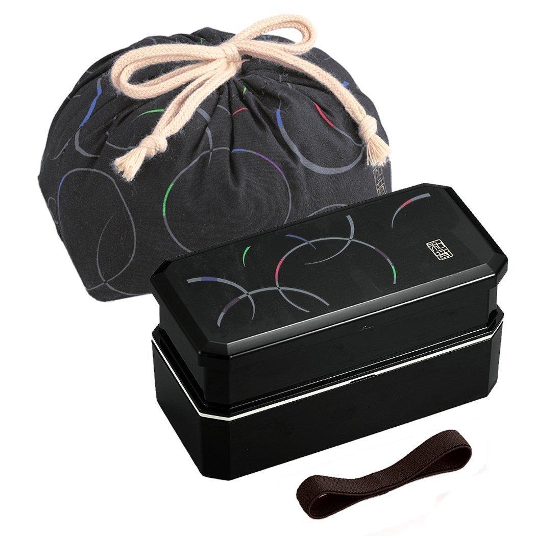 New Japanese style lunch box Bento 2stage + Chopsticks Belt SET Black bag FS