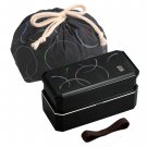 New Japanese style lunch box Bento 2stage + Chopsticks Belt SET Black bag FS