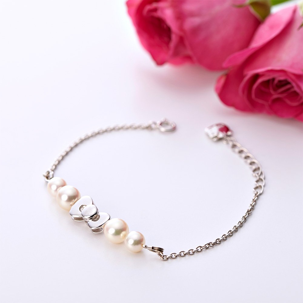 �Gift! Hello Kitty Sterling Silver � Akoya pearls Rbbon Bracelet JAPAN NEW F/S�