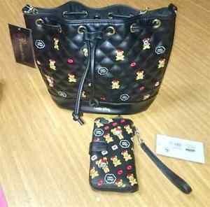 NEW Sanrio Bear Hello Kitty Shoulder Bag & IPhone6 Case Set wallet JAPAN BlackFS