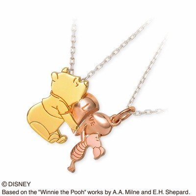 THE KISS Winnie the Pooh & Piglet pair necklace Pink Heart Silver Jewelry F/S