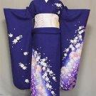 OFFER SAKUR Maiko SILK Frisode Kimono set Blue Cherry blossoms yukata M JapanFS