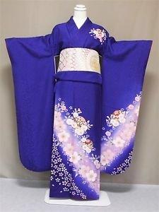 NEW Maiko Frisode Kimono set Blue Cherry blossoms yukata lobe M Kyoto Japan F/S