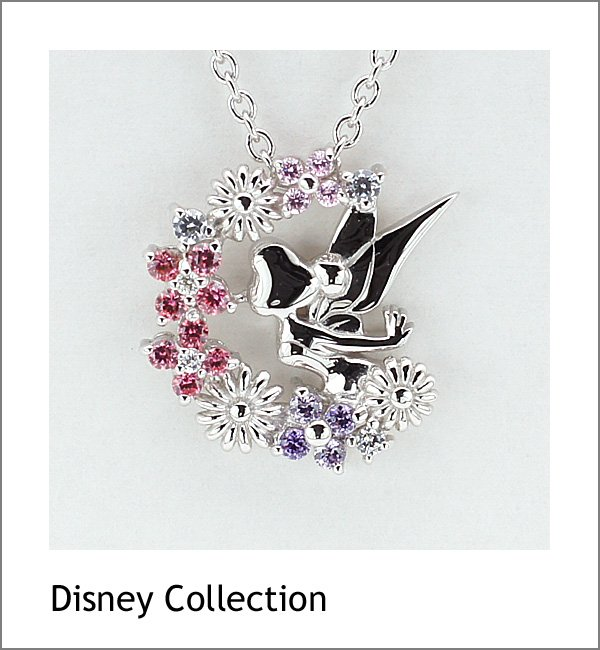 �Gift! Disney Tinker Bell Silver cubic zirconia Necklace pendant Japan NEW F/S�