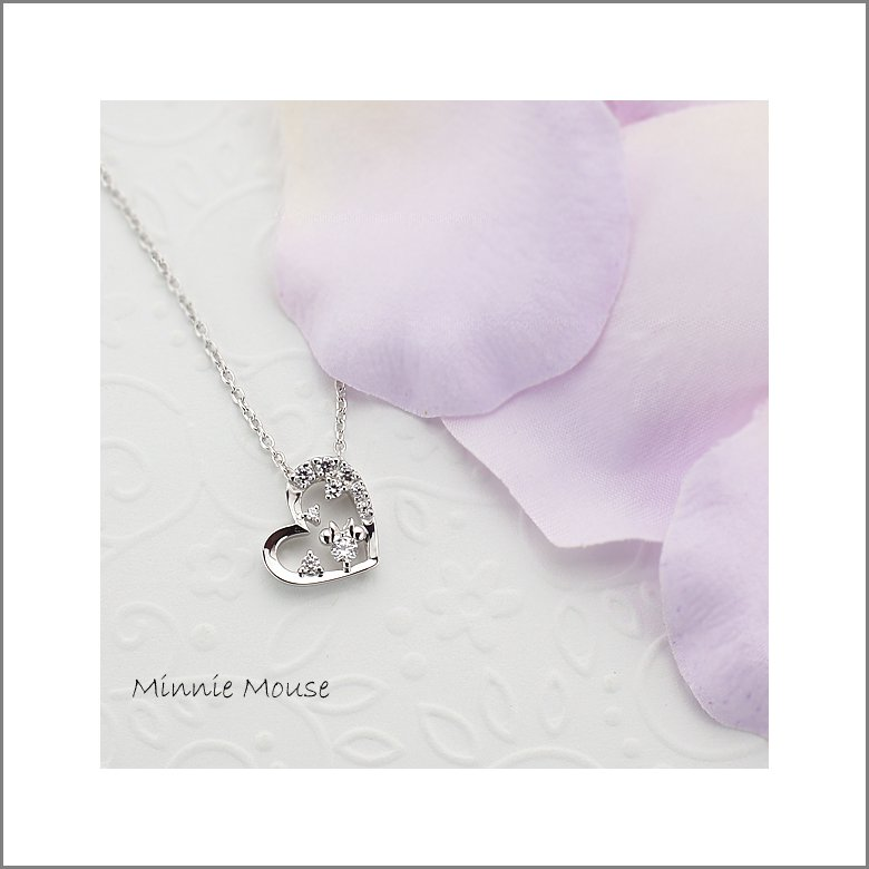 Gift! Disney Minnie Mouse Silver cubic zirconia Necklace pendant Japan NEW F/S