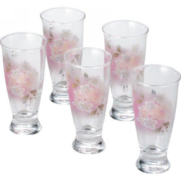 Gift! Chiyo Uno Akane Sakura Cherry blossom Beer Glass 5 SET Pink from JAPAN FS