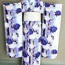 NEW Maiko Furisode Kimono set Blue Flower yukata lobe Gress M Kyoto Japan F/S
