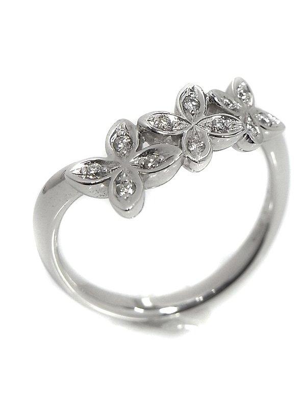 Mikimoto K18WG Ring Diamond 0.07ct flower motif Ring No 11.US 6 NEWFS from Tokyo