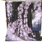 Maiko SILK Furisode-Kimono Set Purple Rose SAKURA Flower Dress M Kyoto NEWFS