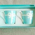 Gift Tiffany & Co Bone China Blue Bow Ribbon 2 Mug Cup SET Box from JAPAN FS NEW