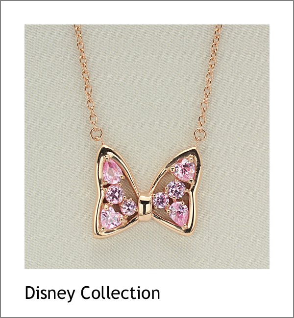 �Gift! Disney Minnie Mouse Ribbon Silver cubic zirconia Necklace pendant NEW FS�