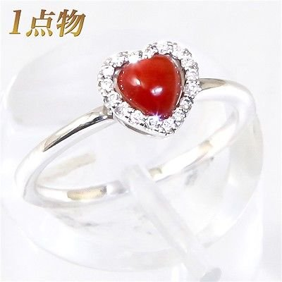 Red heart Coral ring 4.3mm K18WG Corallium japonicum diamond 0.07ct JAPAN NEW FS