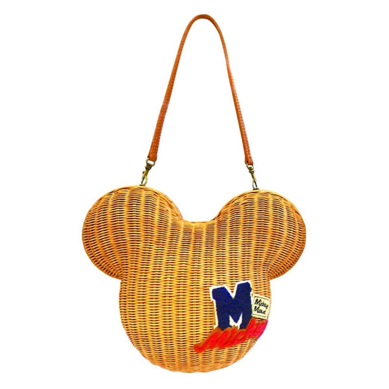 DISNEY Mickey mouse Camel Rattan Mascot Face Shoulder Bag Handbag from Japan FS
