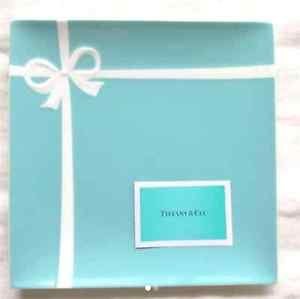"""Gift Tiffany & Co blue box ribbon square plate 24.5 cm 9.6""""dish from JAPAN F/S"""
