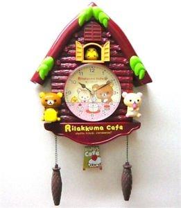 Rilakkuma Small log house clock pendulum Wall clock Aloha Brown Japan NEW FS
