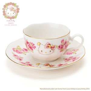 Hello Kitty LAURA ASHLEY Rose Cup and saucer set for Coffee from JAPAN NEW Gift