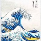 Japanese Noren Ukiyoe HOKUSAI White WAVE Doorway Rayon Cotton Curtain TapestryFS