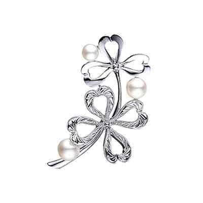 MIKIMOTO Akoya Pearl Brooch PB-20011S Clover motif Silver from Japan FS NEW Gift
