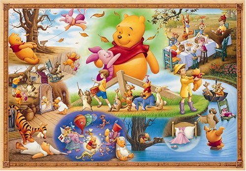 Jigsaw puzzle the world's smallest Disney Winnie the Pooh and the large storm