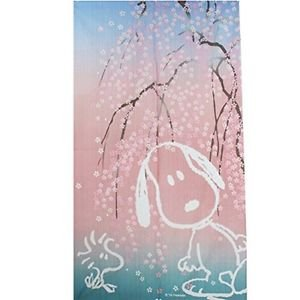 SNOOPY Weeping Cherry Blossoms Curtain NOREN Doorway Pink room decor Japan F/S