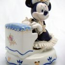 Disney Official Pottery Lace Doll Music Box Minnie piano figurine Japan limited