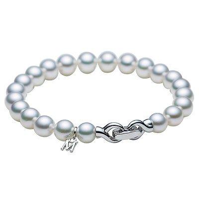 Gift NEW MIKIMOTO Akoya Pearls 7-7.5mm Bracelet 18K WG WD-1528EU from Japan FS