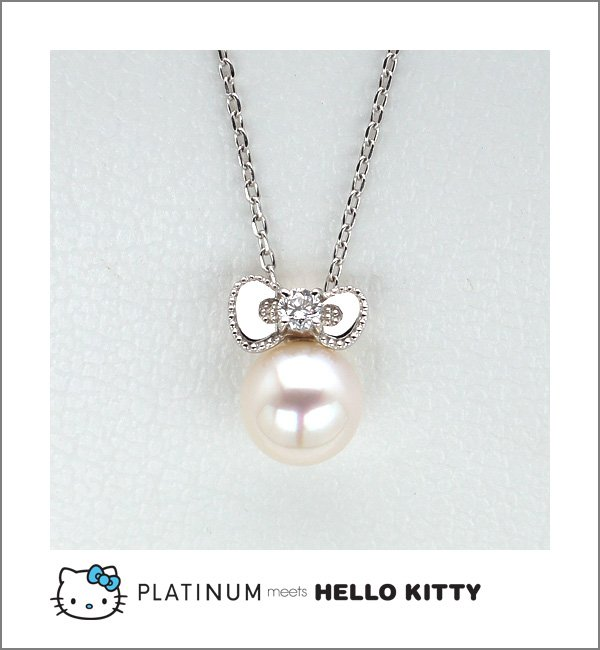 STOCK! Hello Kitty Diamond Akoya Pearl Pendant Necklace Platinum 900 Sanrio FS