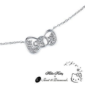 IN STOCK Gift Hello Kitty RIBBON Sweet 10 Diamond Pendant Necklace Platinum900FS