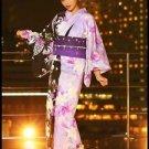 Purple Butterfly Maiko Yukata Set Cherry Blossom kimono Cotton Dress M Flower FS