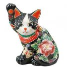 NEW Japan Kutaniware Lucky cat Beckoning cat 5.5 Black M Flower and Butterfly FS