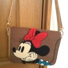 Disney Minnie Mouse Sagara Embroidery 2-way Shoulder Tote bag case Brown PouchFS