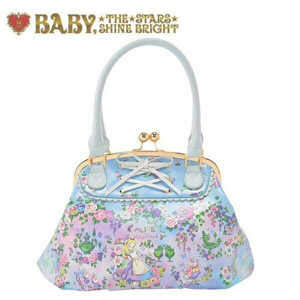 Disney Store Baby Alice in Wonderland Handbag purse Tote bag light blue NEW FS