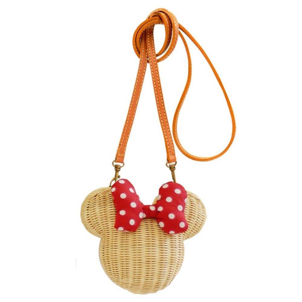 �Disney Minnie mouse Rattan Pochette shoulder bag Basket bag Japan NEW F/S�
