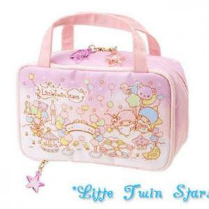 �Little Twin Stars Kikirara Makeup Pouch Cosmetic case Bag Balloon pink NEW F/S�