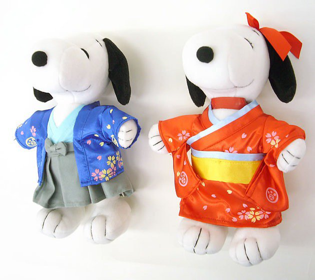 Made in JAPAN! Kimono Snoopy & Bell Plush Doll Yukata Wedding Doll for Gift F/S