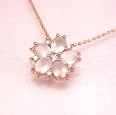 SAKURA Cherry blossom Rose quartz Diamond 0.05ct K10 pink gold necklace pendant